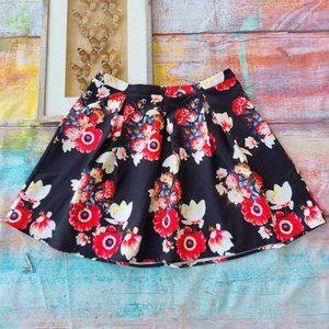 City Chic Black Floral Full Pleated Mini Skirt 20